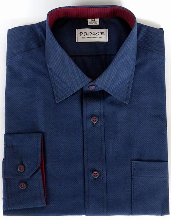 54bc3a4c301b Koszula męska granatowa gładka slim PRINCE sklep internetowy